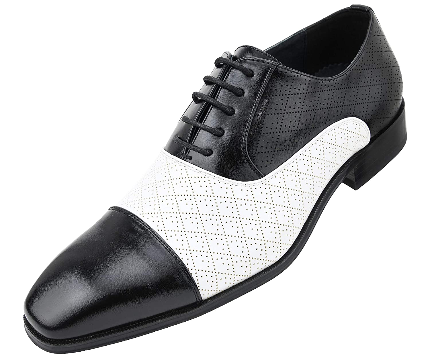 1920s Boardwalk Empire Shoes Amali Mens Quilted Embossed Two Tone Lace Up Faux Leather Oxford Dress Shoe with Smooth Cap Toe Style Hammond $49.99 AT vintagedancer.com