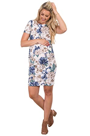 577dfc0e214 Image Unavailable. Image not available for. Color  PinkBlush Maternity  White Floral Fitted Maternity Dress ...