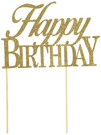 Amazoncom All About Details Gold Happybirthday Cake Topper