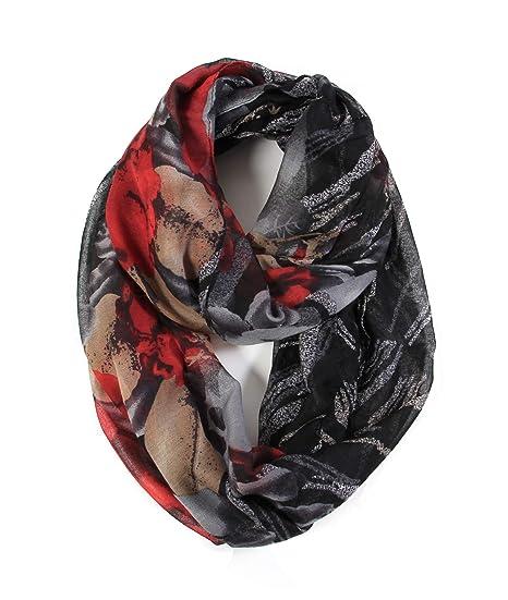 1f94c8e21 Scarfand's Romantic Rose Flower Print Lightweight Infinity Fashion Scarf &  Head Wrap (Big Print Blk