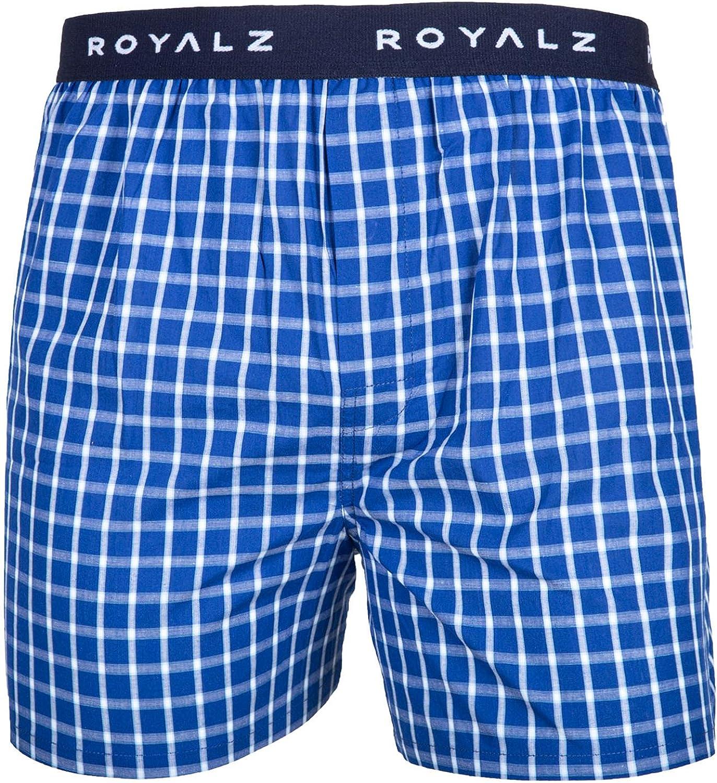ROYALZ Calzoncillo B/óxer Americano Hombre Set de 5 Azul 100 Algod/ón Estilo American Style Ropa Interior Ancha Paquete 5