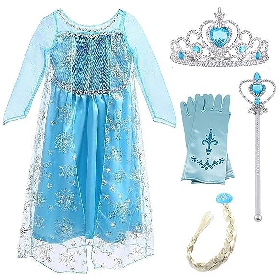 New front Chica Disfraz de Princesa Elsa Vestido de Reina ...