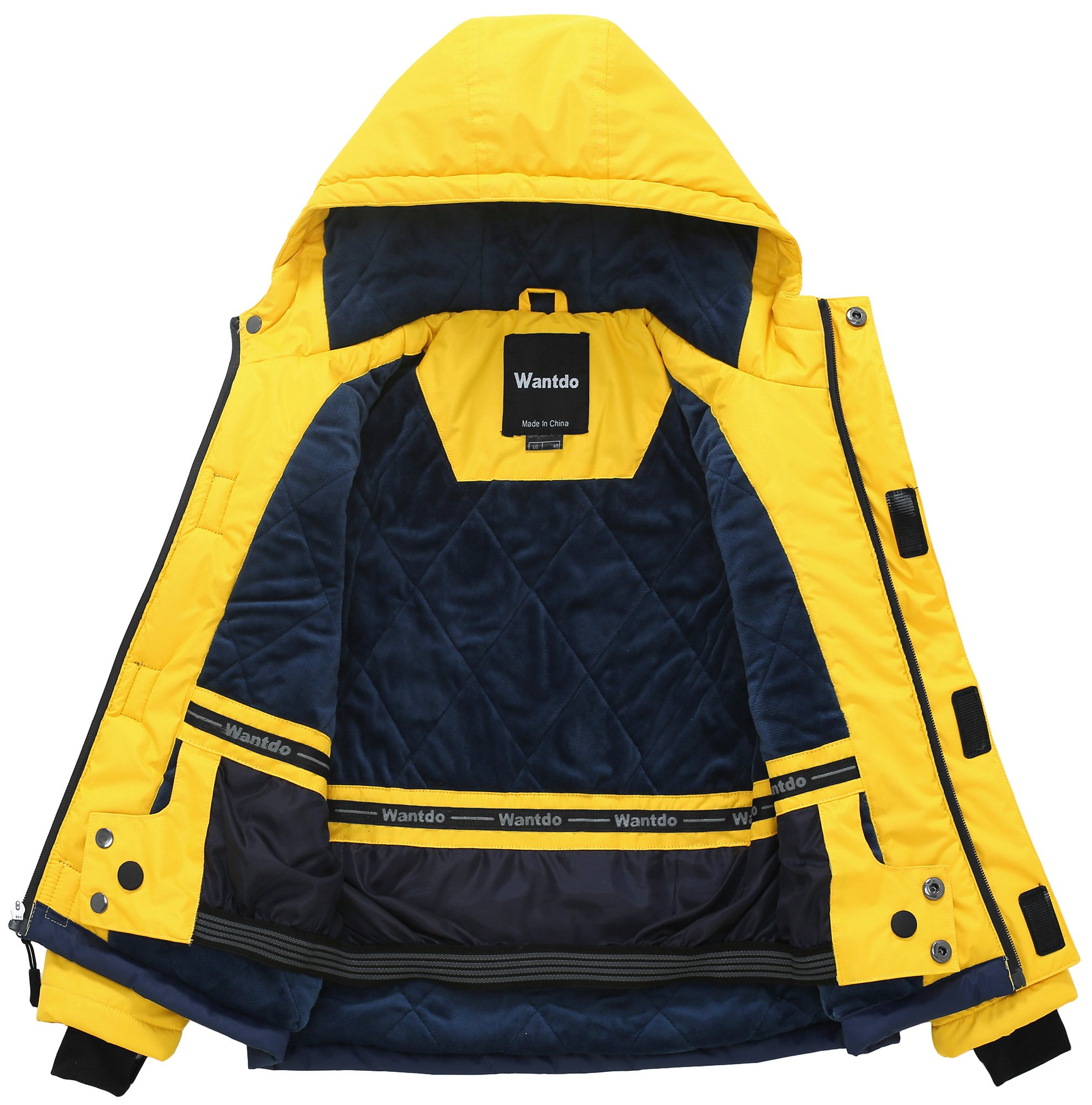 Wantdo Boy's Waterproof Quilted Ski Jacket Cotton Padded Coat Hooded Rainwear(Yellow+Dark Blue, 6/7) by Wantdo (Image #3)