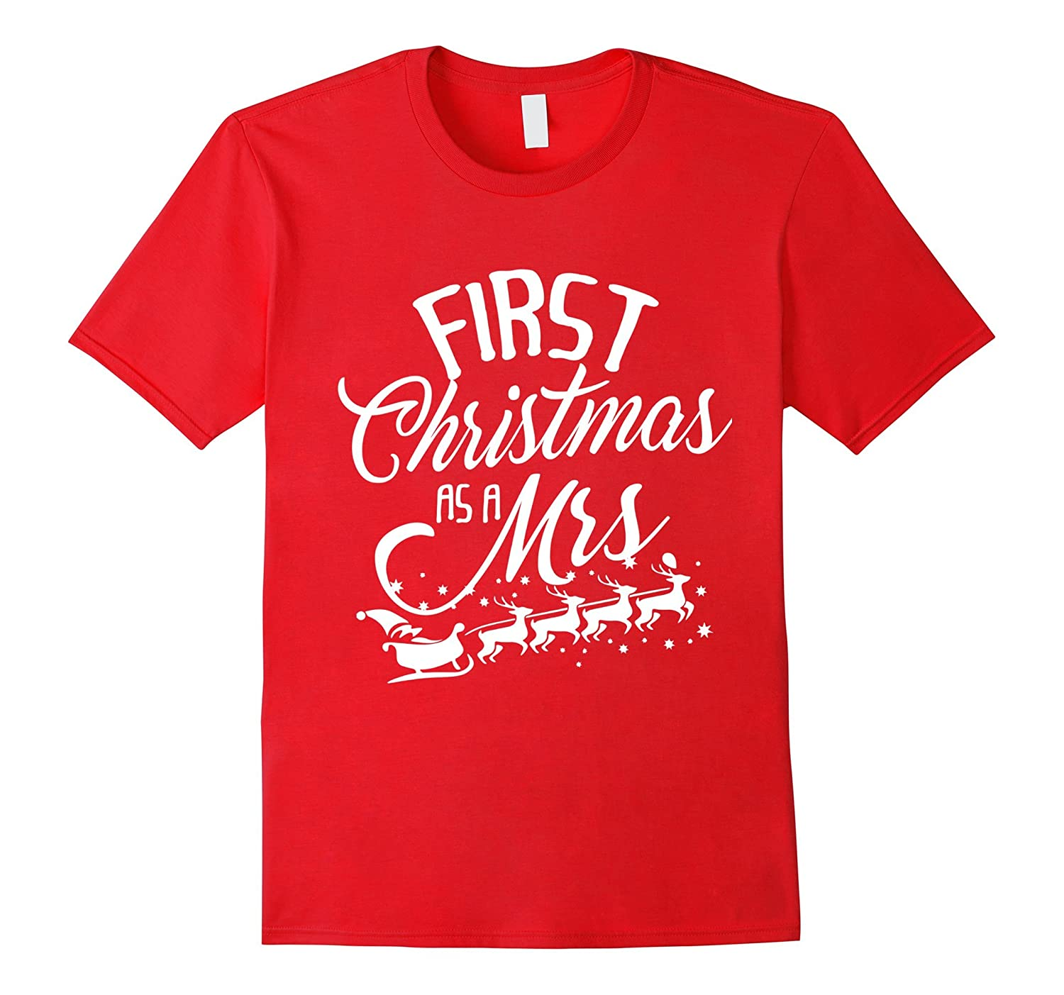 First Christmas as a Mrs. Matching Couples Xmas T-Shirt-ANZ