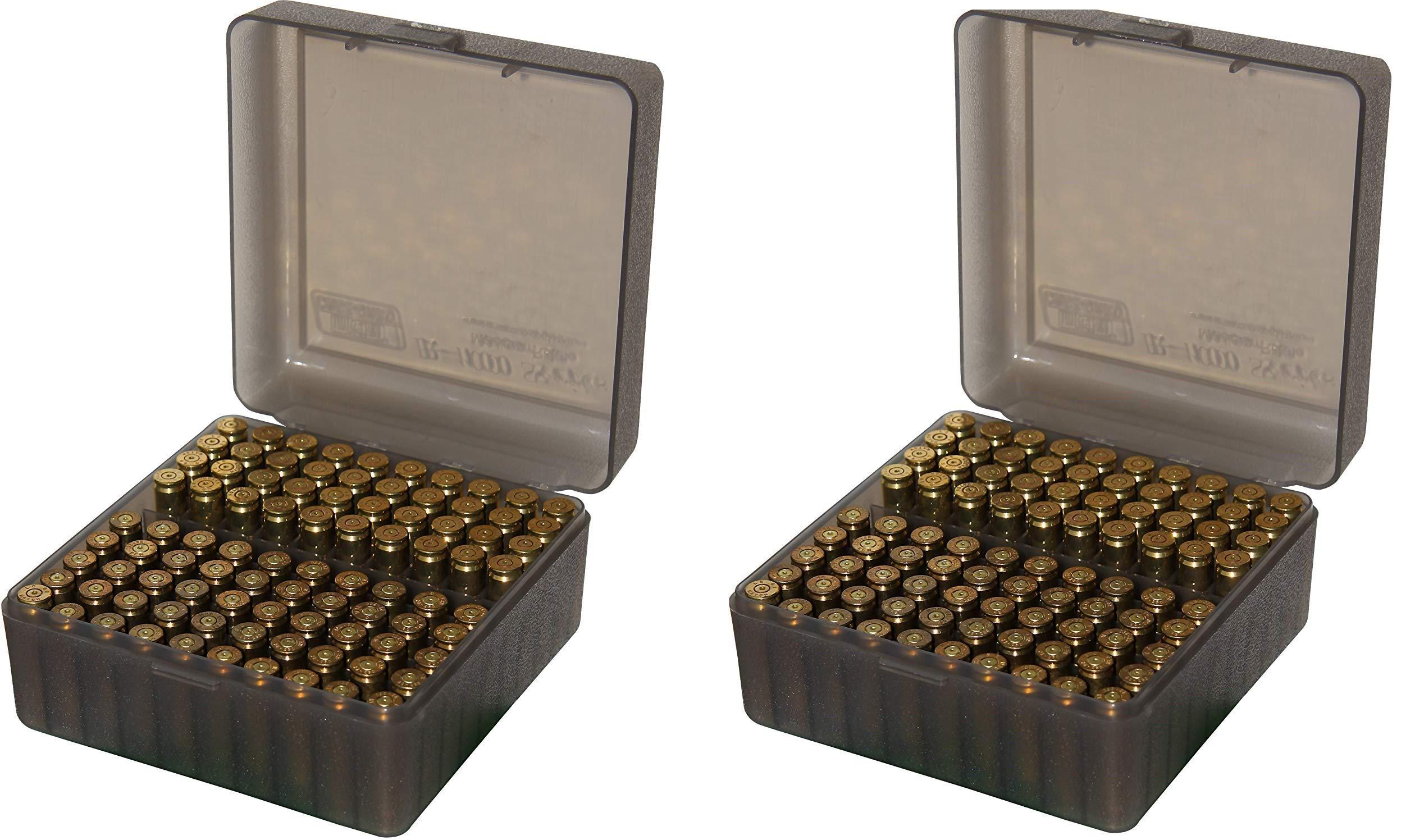 MTM 100 Round Flip-Top Rifle Ammo Box, Medium, Clear Smoke (Pack of 2)