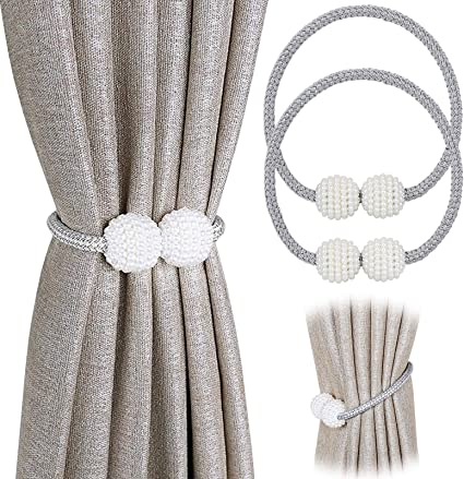 DIFFLIFE 2 Pack Magnetic Curtain Tiebacks Gray Decorative Window Curtain Buckle Clips Convenient Drapery Tiebacks for Office//Home DAFENG