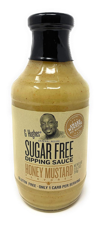 G Hughes Sugar Free Mustard Dipping Sauce Bottle, honey mustard, 18 Ounce