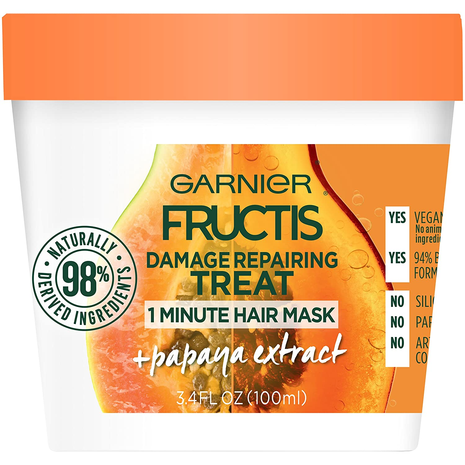 Garnier Fructis Hair Treat Mask, Papaya, 3.4 fl. oz. 603084542338