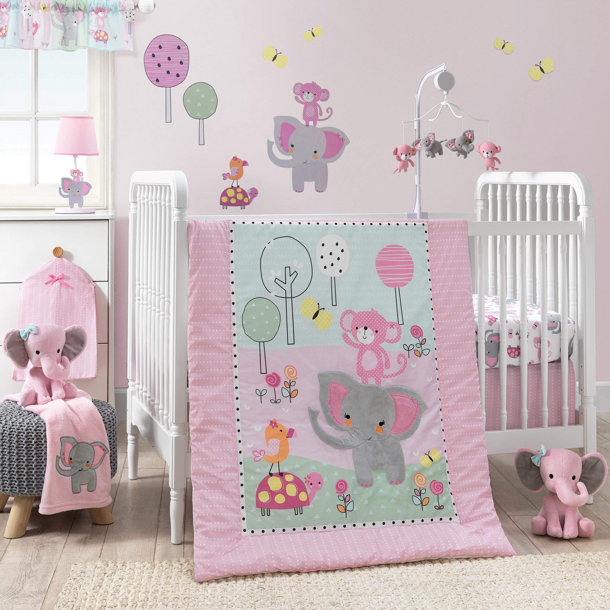 Bedtime Originals Twinkle Toes Jungle Elephant 3 Piece Bedding Set, Pink/White by Bedtime Originals