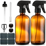Empty Amber Glass Spray Bottles - (2 Pack) 16 oz with Labels Refillable Container for Essential Oils, Cleaning Solutions, Cle