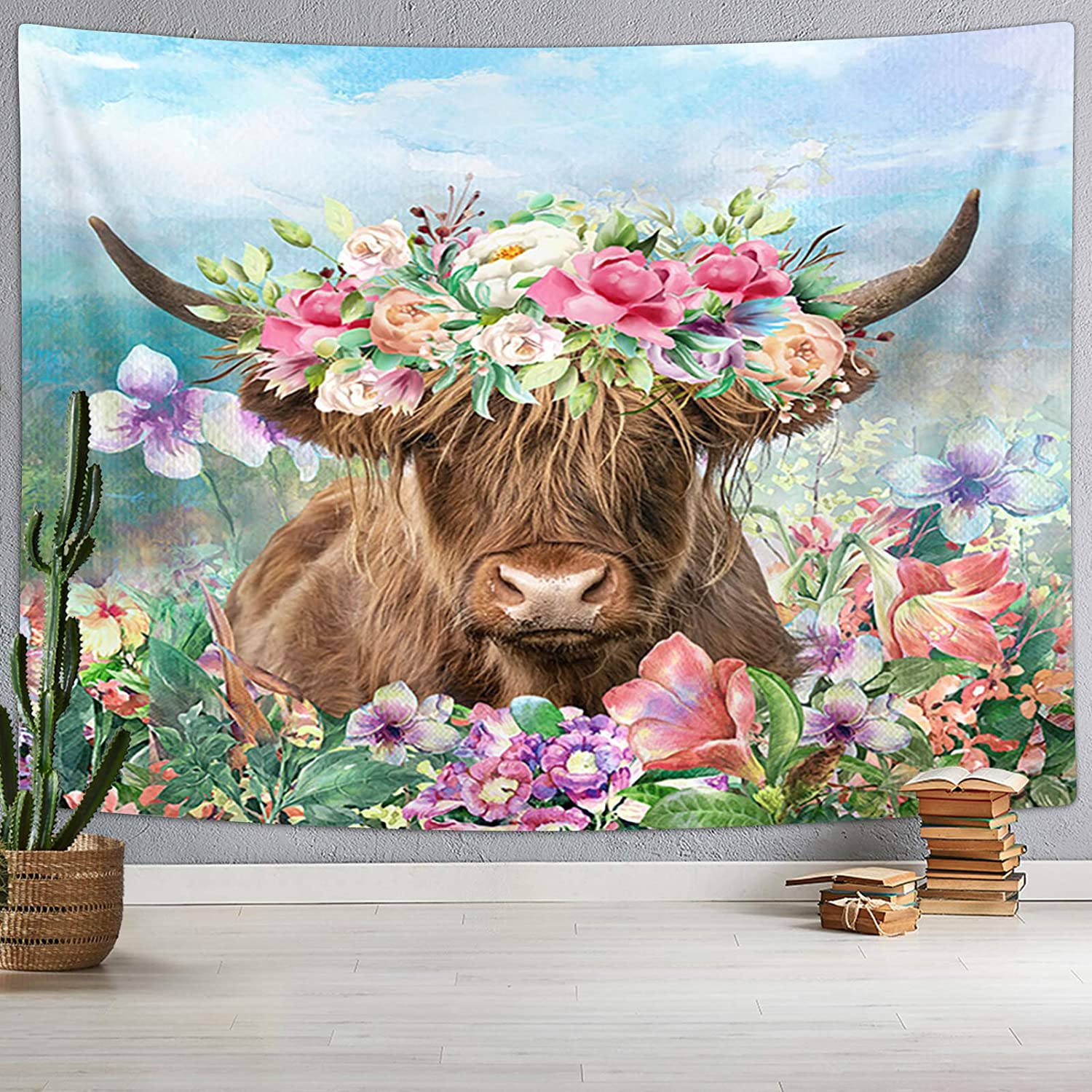 Funny Highland Cow Tapestry, Longhorn Bull Cattle Head with Flowers Garland in Rustic Flower Garden Wall Tapestry, Rustic Farmhous Tapestry Wall Hanging for Bedroom Living Room Dorm, 71X60IN