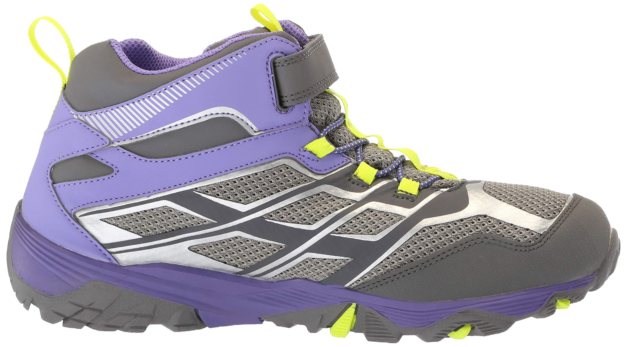 Merrell Girls' Moab FST Mid A/C WTRPF Hiking Shoe, Grey/Purple, 3.5 Medium US Big Kid by Merrell (Image #7)