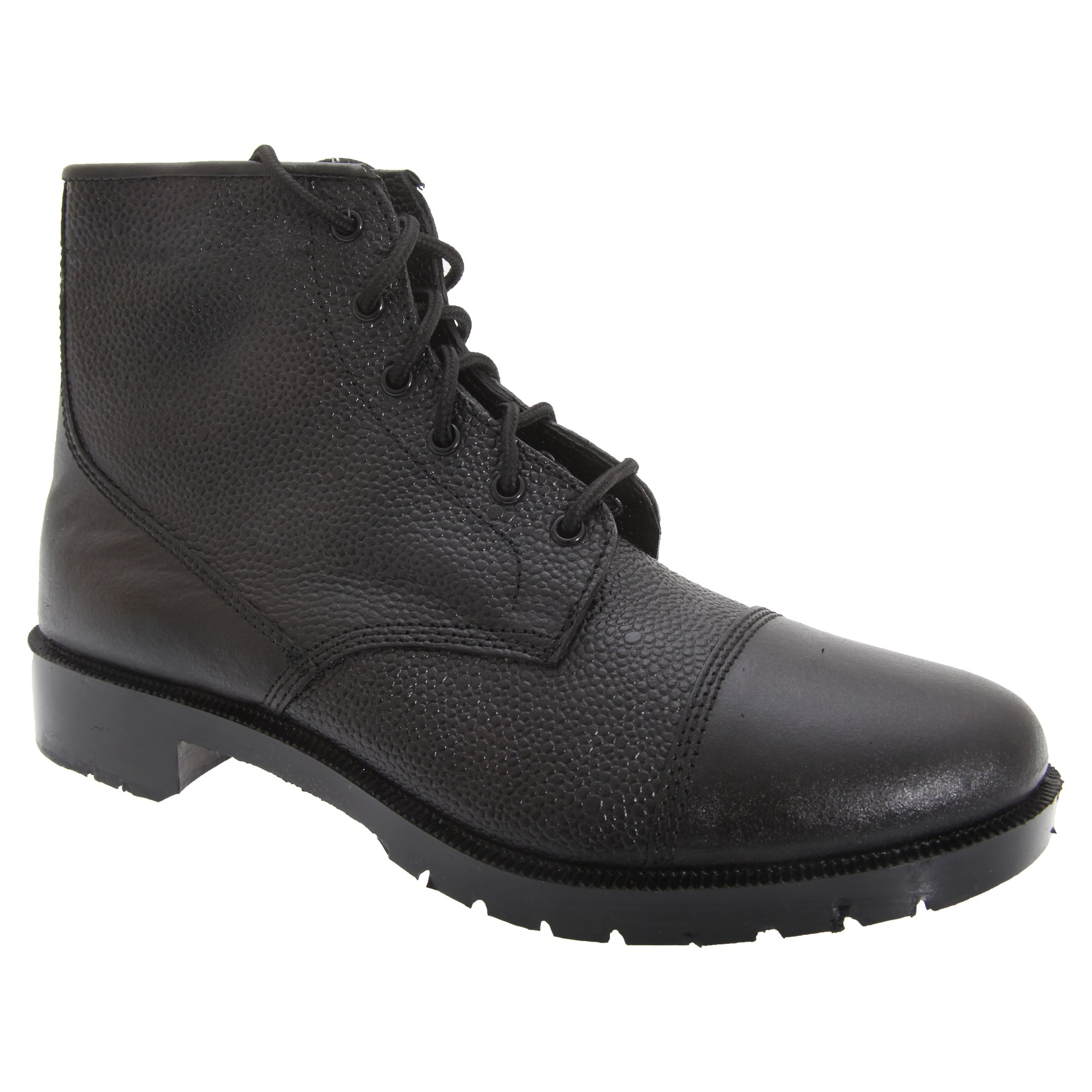 Grafters Mens Grain Leather 6 Eye Cadet Boots (5 US) (Black)