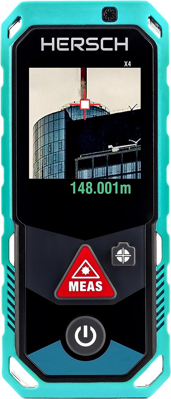 HERSCH LEM 150 Medidor láser robusto (Puntero con Zoom de 4 aumentos, Bluetooth + App, pantalla color giratoria con pantalla táctil, 3D Medición, sensor de inclinación, Ni-Mh, IP65, Alcance 150 m)