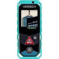 HERSCH Télémètre Laser LEM 150 (Portée 0,05-150m, Bluetooth+Application, numérique de l'objectif à Zoom viseur avec 4, Affichage Couleur pivotant avec écran Tactile, Mesure 3D, Ni-Mh Batterie, IP65)