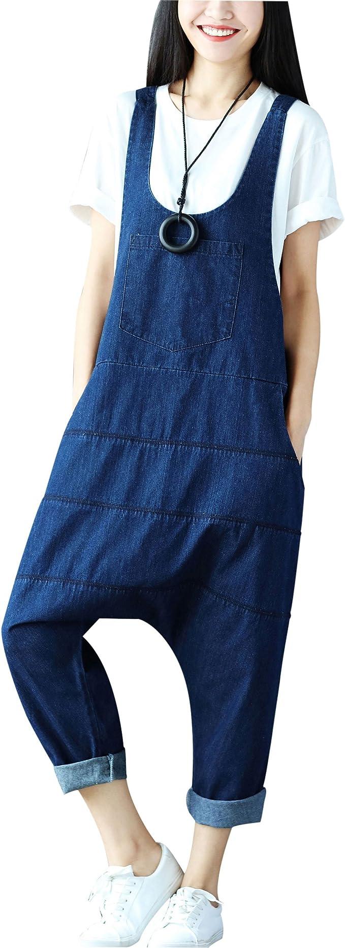 2017 Retro Women Casual Denim Dungaree Jumpsuit Overalls Jeans Harem Trousers