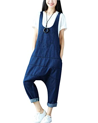 7b7737f4ca7 Yeokou Women s Casual Loose Denim Overalls Oversized Baggy Wide Leg Harem  Pants (One Size US