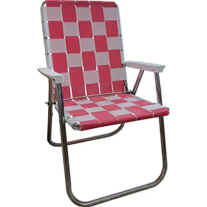 Lawn Chair USA Folding Aluminum Webbing Chair (Tailgating, Pink//White)