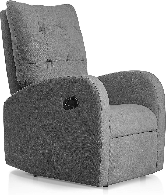 Sillon Relax orejero reclinable Soft tapizado en Tela Antimanchas Gris