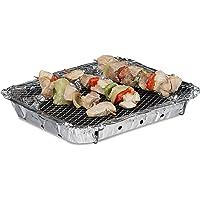 Relaxdays Barbecue jetable prêt à l'emploi avec 2 Pieds 500 g de Charbon de Bois et 1 Longue durée de Combustion Argenté