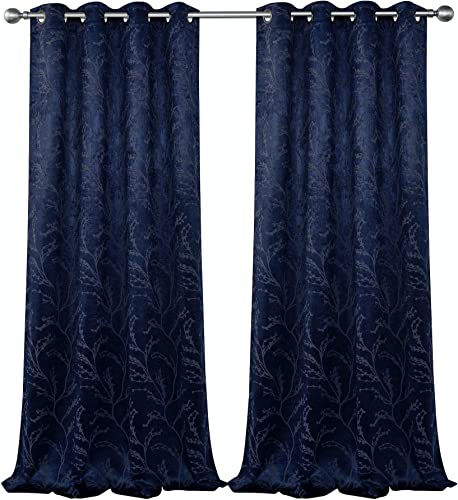 GoodGram 2 Pack Arbor Contemporary Floral Chic Heavy Duty Thermal Blackout Curtain Panels – Assorted Colors Sizes Navy, 84 in. Long
