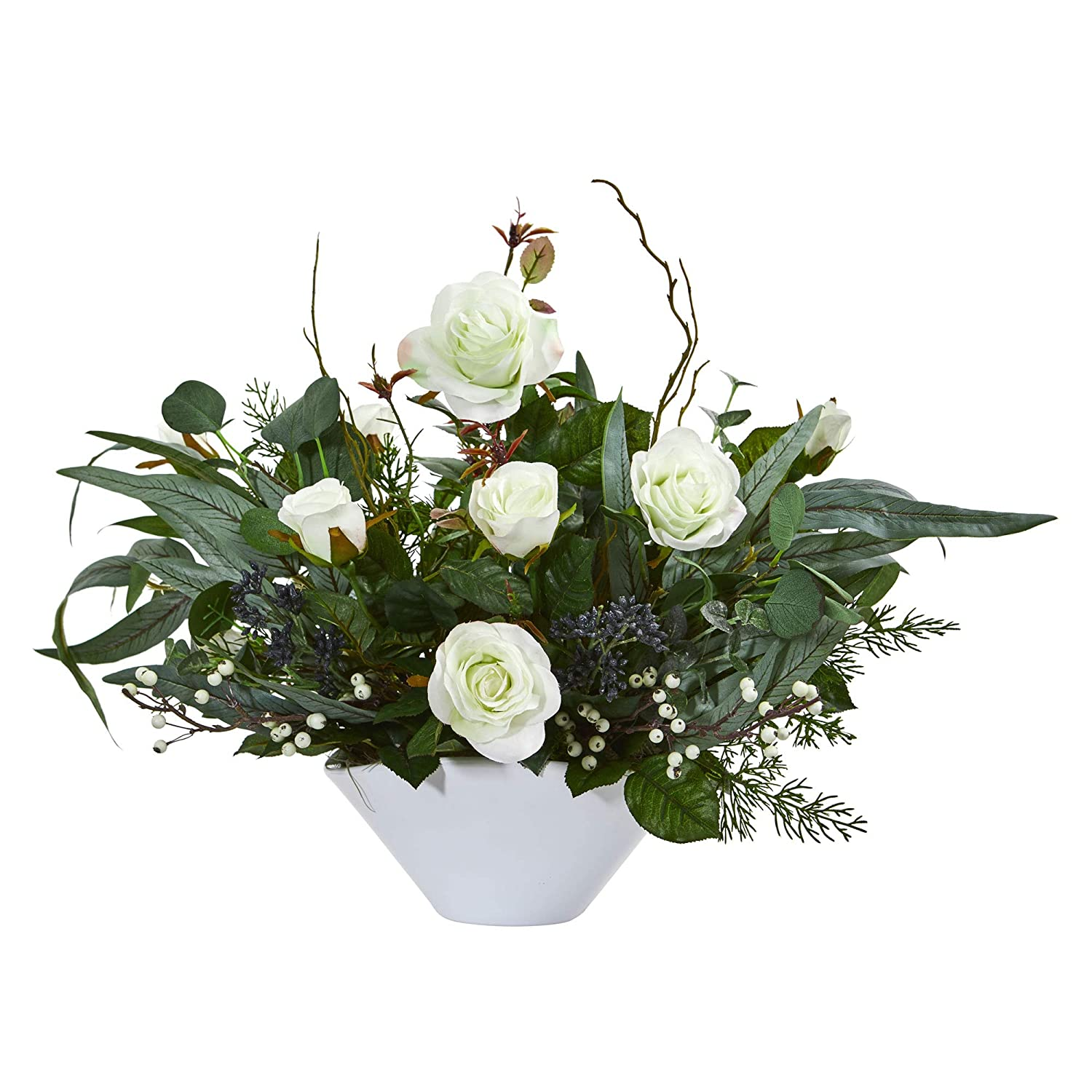 Rose and Eucalyptus Artificial Vase Silk Arrangements White Nearly Natural 1769-WH 16-in