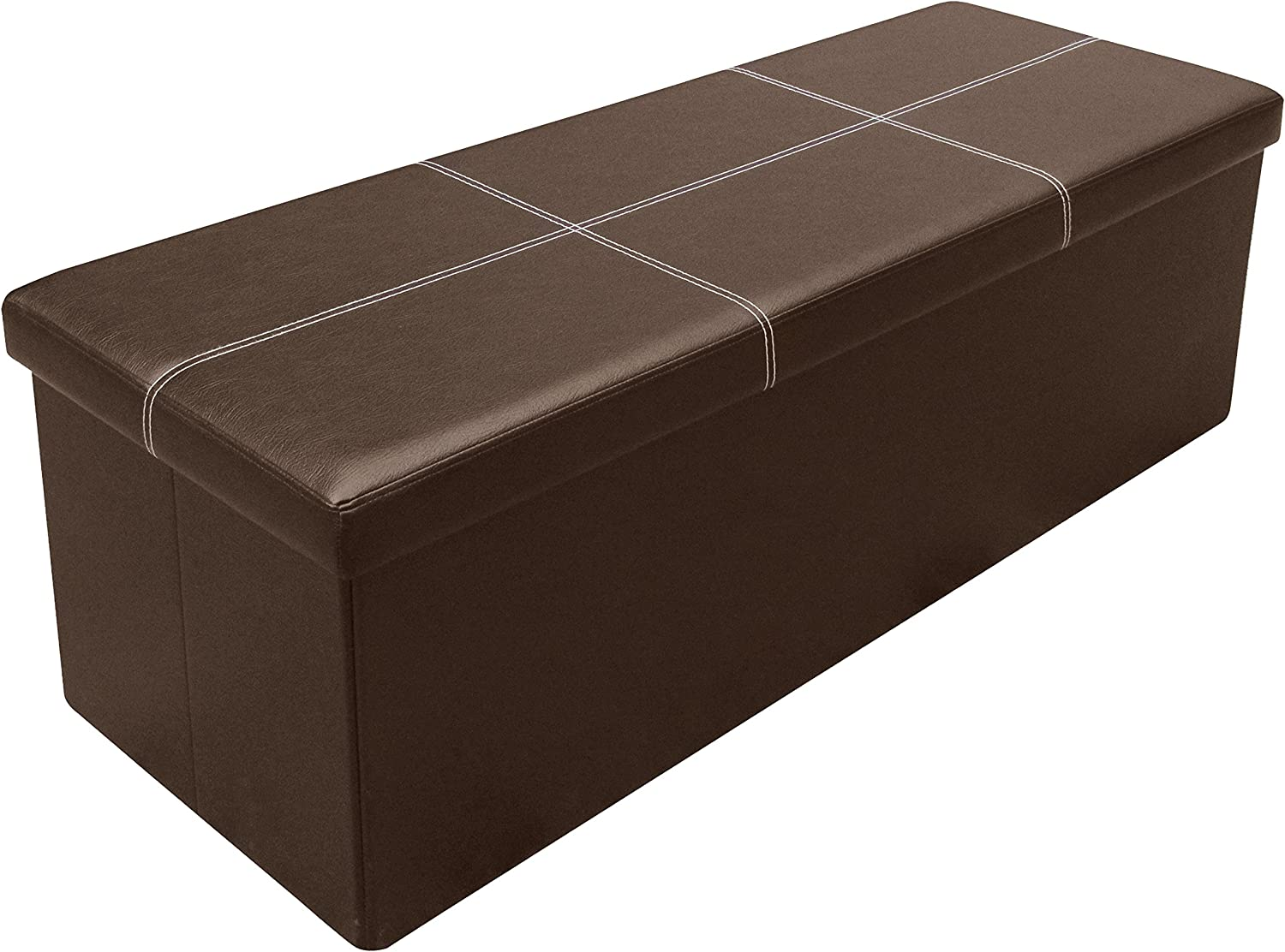 """Otto & Ben 45"""" Storage Folding Toy Box Chest with Memory Foam Seat Faux Leather Trunk Bedroom Ottomans Bench End Table, 45 Inch, Line Brown"""