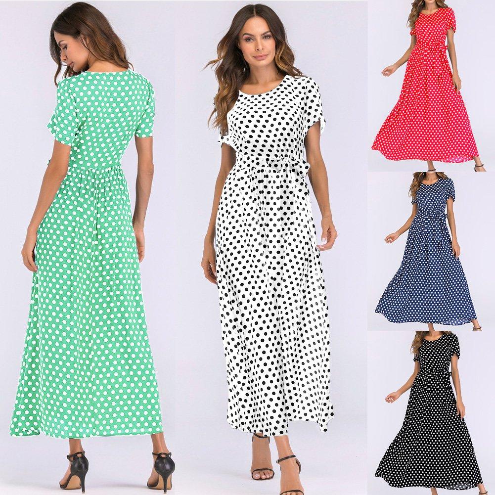 Romacci Women Polka Dot Long Dress Short Sleeves High Waist Tie A-Line Vintage Maxi Dress (L, Black) by Romacci (Image #6)