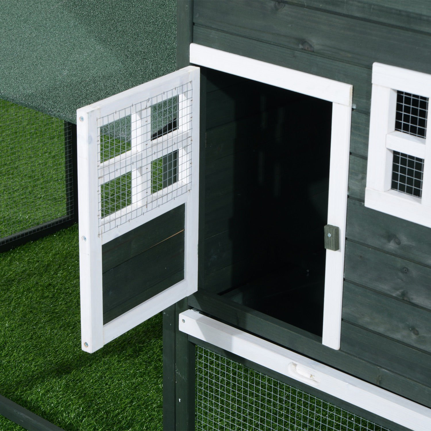 Pawhut Wooden Backyard Poultry Hen House Chicken Coop - Green by PawHut (Image #7)