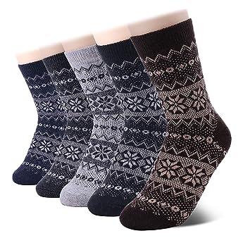 SHOLOV Calcetines de Senderismo de Lana Merino, 5 Pares, Mujer, Calcetines de Trekking