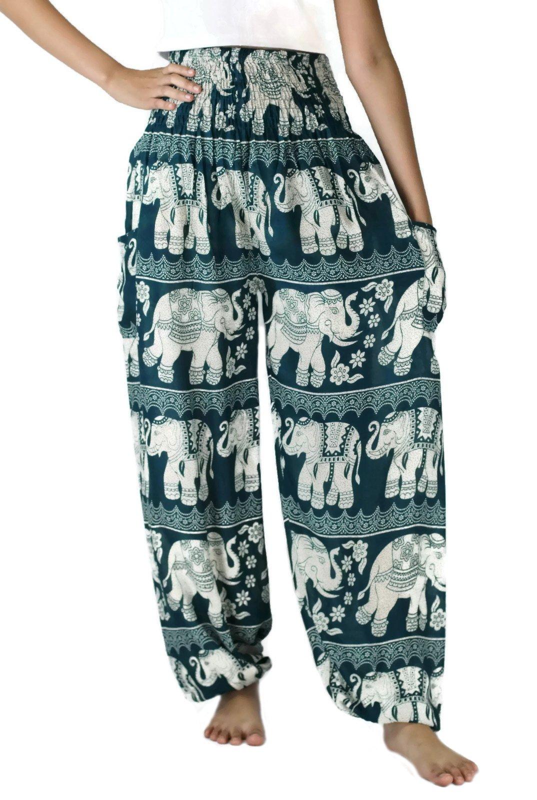 NaLuck Harem Pants Women's Hippie Bohemian Boho Smocked Waist Elephant floral prints Aladdin Yoga Casual Pants PJ16-Turquoise#2 by NaLuck
