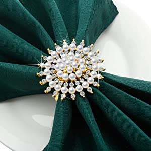 Set of 8 Napkin Rings Flower Faux Pearl Rhinestone Napkin Ring Holder Christmas Napkin Buckles Metal Napkin Rings Alloy Napkin Holder for Wedding Christmas Party Dinner Table Decor (Gold)