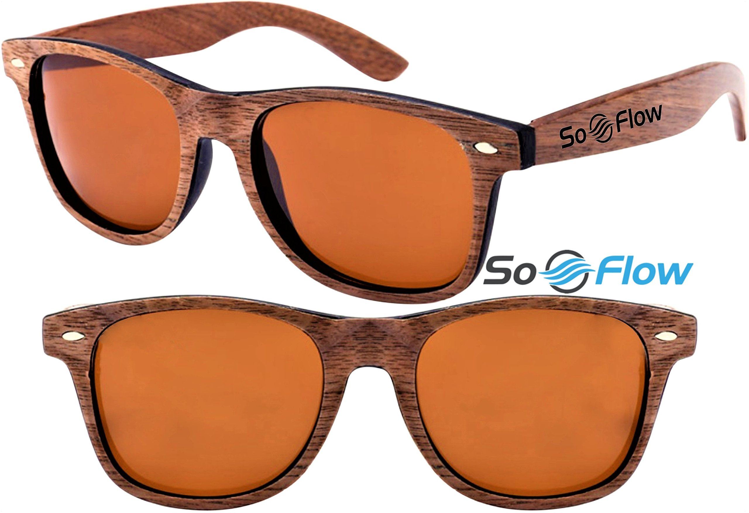 Polarized Brown Walnut Wood Sunglasses - Wooden - Wayfarer - Men - Women - UV400 by SoFlow Sunglasses (Image #2)