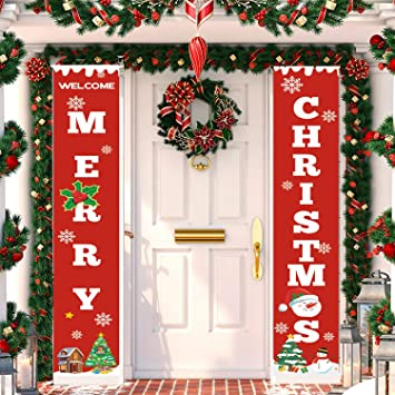 Toplee Merry Christmas Banner 2019 Upgraded Merry Christmas Porch Sign Xmas Couplet For Christmas Decoration Outdoor Indoor Christmas Party Hanging