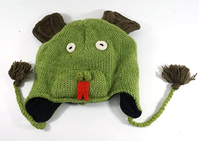 Hand Knitted Wool Dragon Animal Hat With Tassles Fleece Liner One