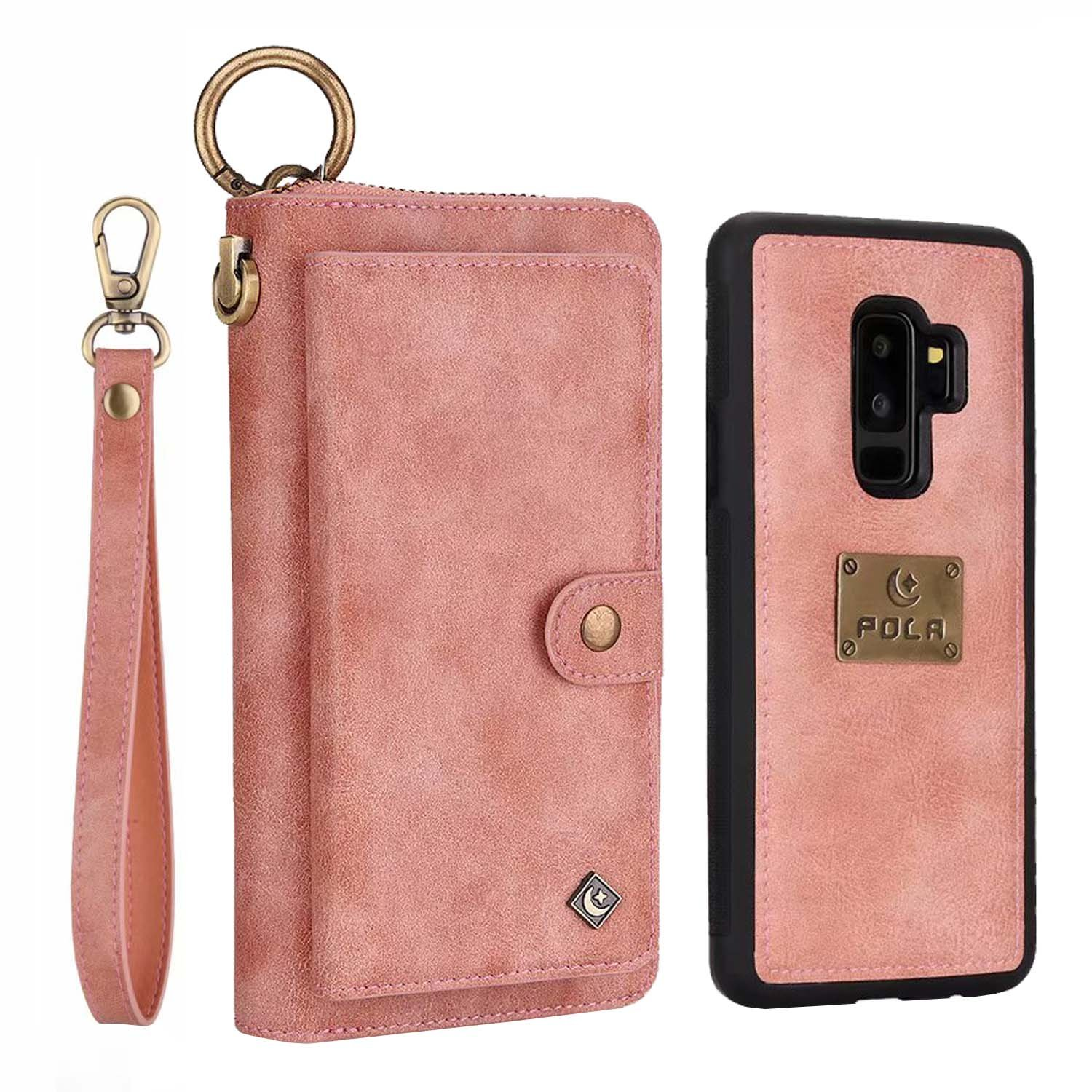 Galaxy S9 Plus Wallet Phone Case,GX-LV Samsung Galaxy S9 Plus Wallet Case Leather Case Cover Zipper Pouch with 14 Card Holder,Magnetic Detachable Case For Samsung Galaxy S9 Plus (Pink)