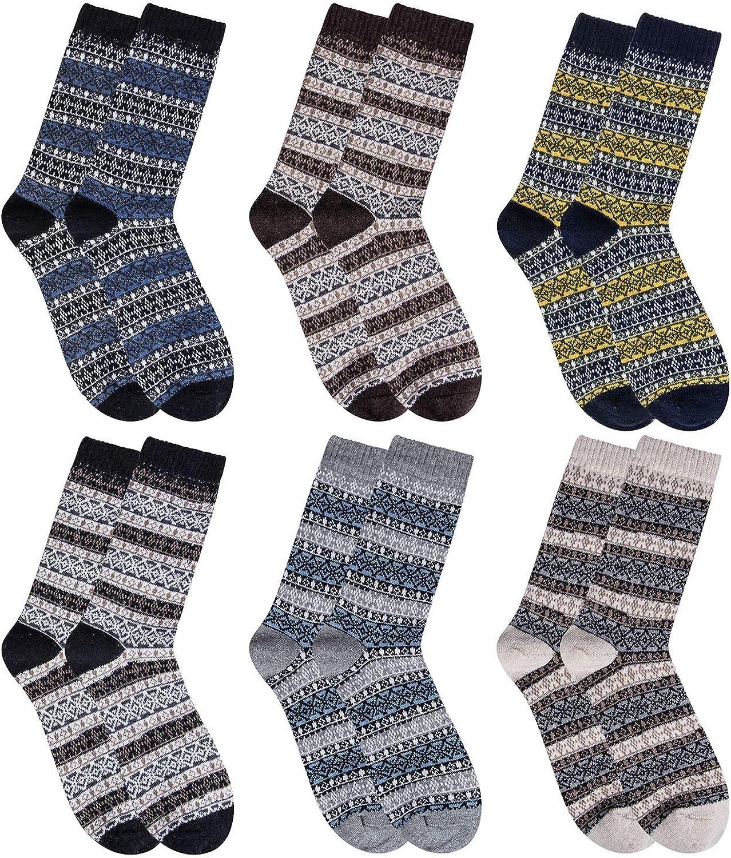 6 Pairs Mens Socks Thermal Knitting Wool Socks for Winter