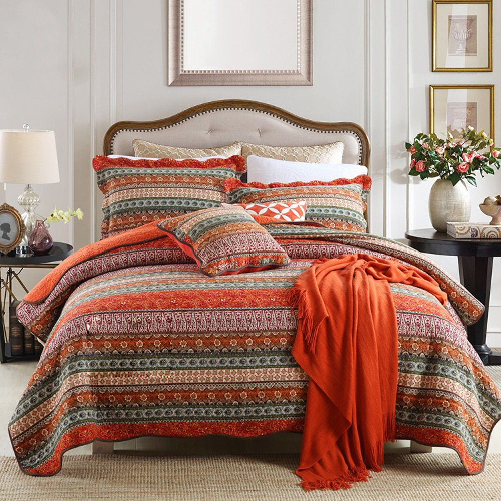 NEWLAKE Striped Classical Cotton 3-Piece Patchwork Bedspread Quilt Sets, King Size