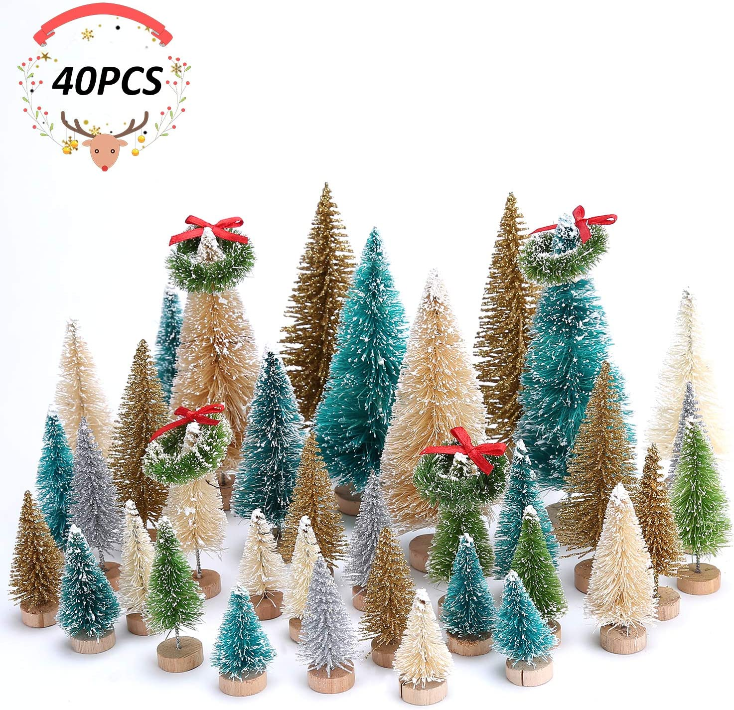 Colovis 40 Pcs Artificial Mini Christmas Trees,Sisal Trees Bottle Brush Trees with Christmas Wreaths for Christmas Table Decorations,DIY Home Decor.
