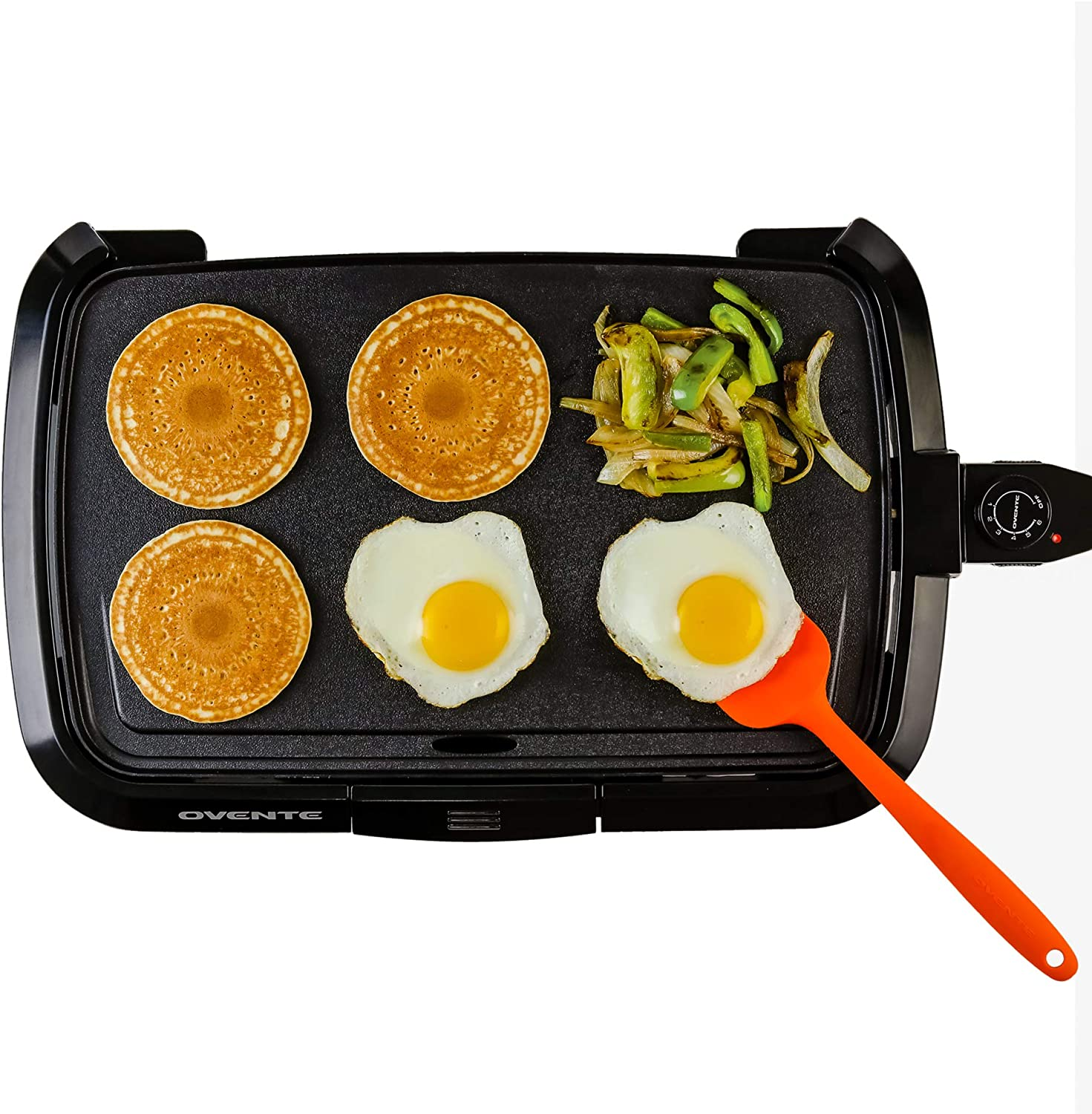 OVENTE GD1610B 1200W Electric Griddle, 16 10 Non-Stick Plate, Temperature Probe and Control Knob, Indicator Light, Grease Channel and Drip Tray, Black
