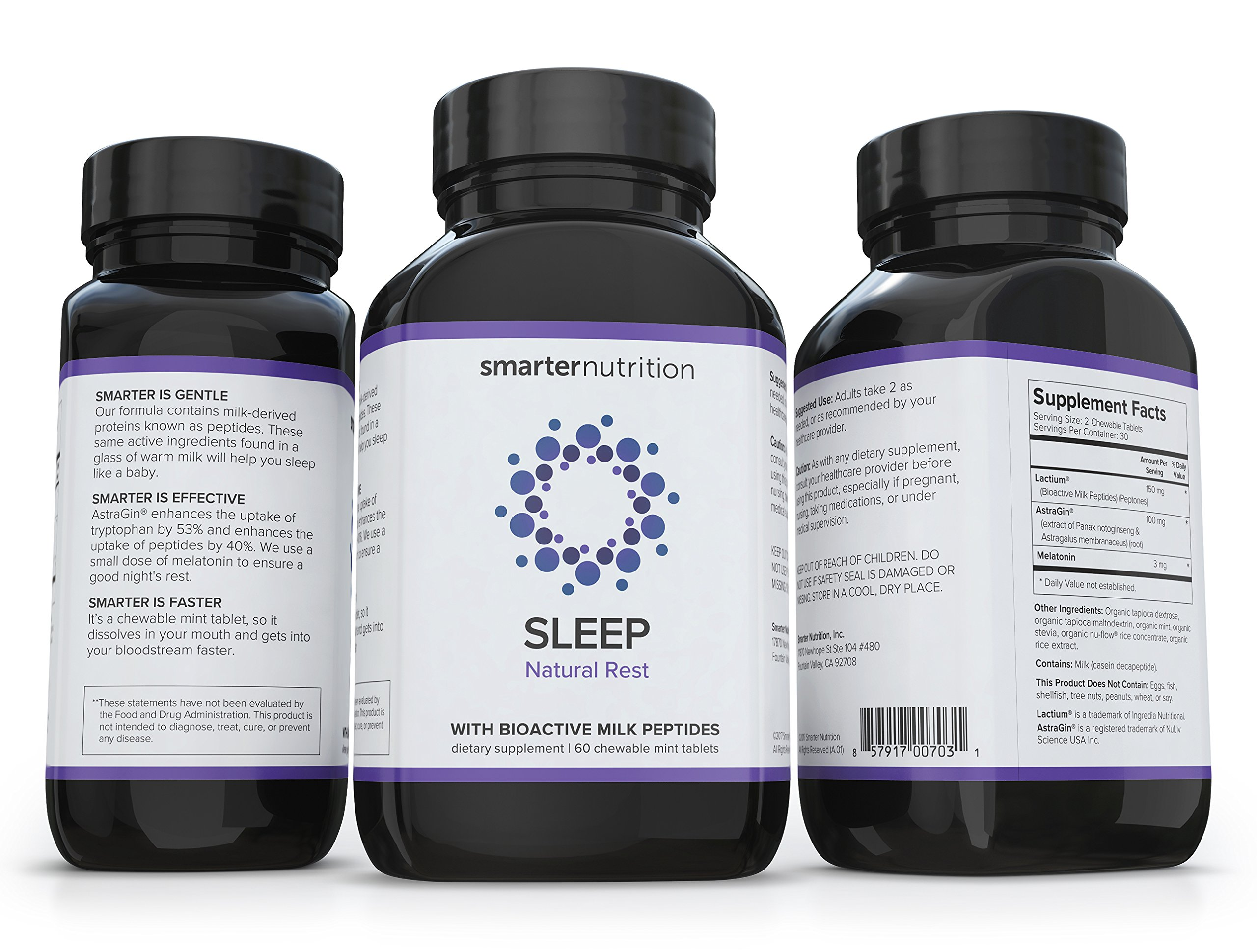 Smarter Sleep, Nighttime Sleep Aid with Bioactive Milk Peptides, 60 Chewable Mint Tablets (1 Month Supply) (1) by Smarter Nutrition (Image #5)