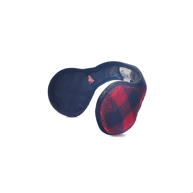 180s Men's American Wool Behind The Head Ear Warmer (Buffalo Check Black Red)