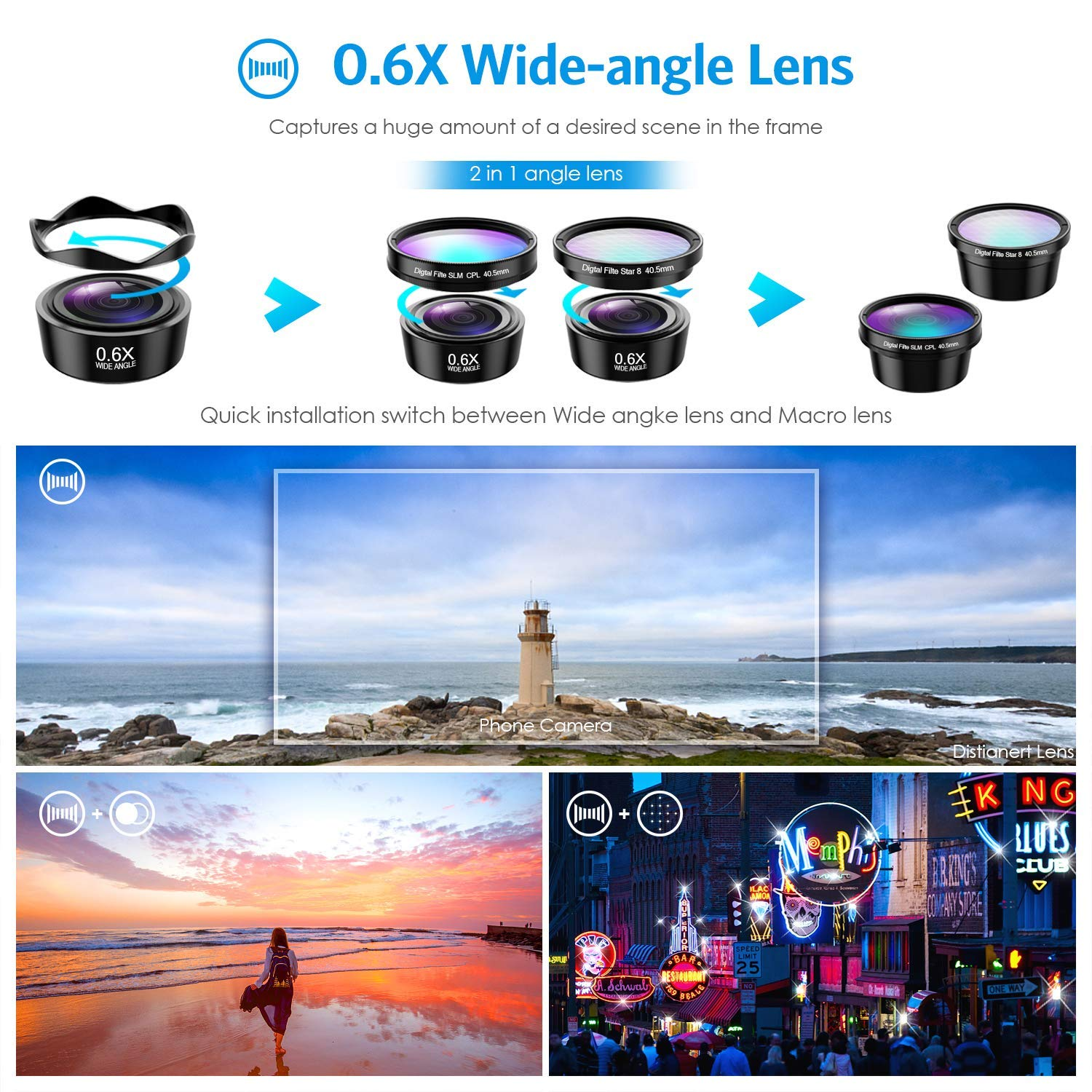 (Upgraded Version) Phone Camera Lens, 5 in 1 Cell Phone Lens Kit, Macro Lens, Wide Angle Lens, Fisheye Lens, CPL, Starburst Lens, with Storage Tube, for iPhone X 8 7, Smartphones by Criacr