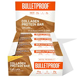 Collagen Protein Bars, Café Latte, 11g Protein, 12 Pack, Bulletproof Grass Fed Healthy Snacks, Made with MCT Oil, 2g Sugar, No Added Sugar