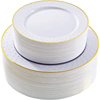 """102pcs Plastic Plates Heavy Duty Gold Plastic Plates White 9"""" Disposable Plastic Plates with Gold Rim includes 51 Dinner…"""
