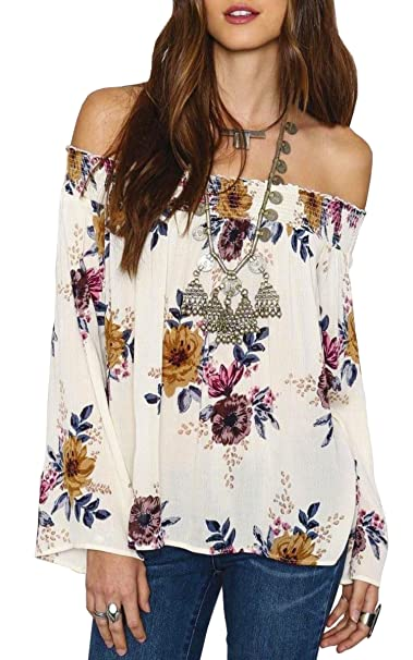 Hibluco Womens Sexy Long Sleeve Off Shoulder Tops Floral Crop Tops