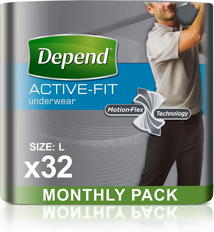 Depend Active Fit - Pantalones de Incontinencia para Hombres, Absorbencia Máxima, L, 32 Pantalones