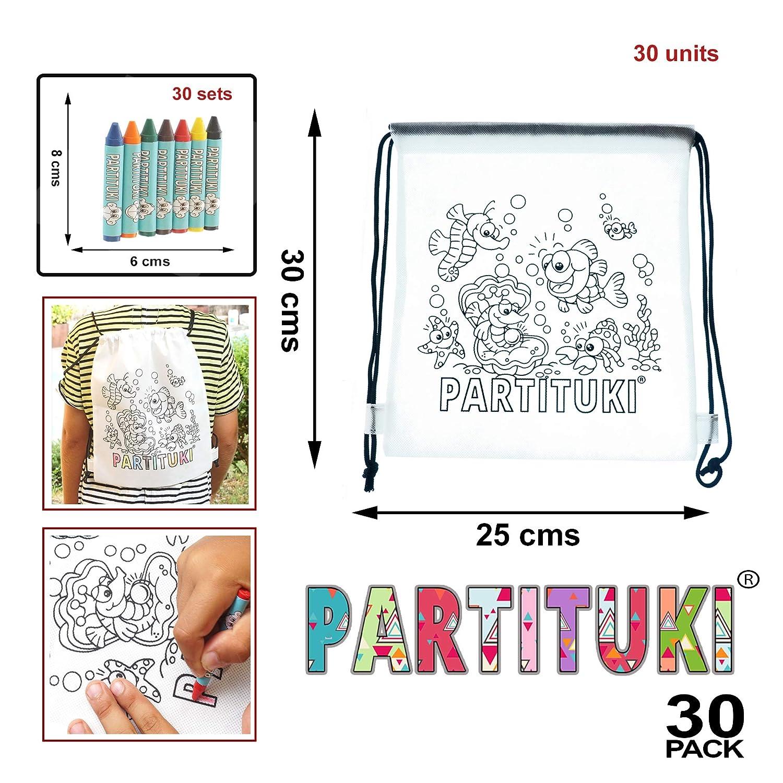 10 Mochilas para Colorear y 10 Sets de 7 Ceras de Colores Detalles para Ni/ños Partituki Con Certificado CE de no Toxicidad Detalles Fiestas Infantiles