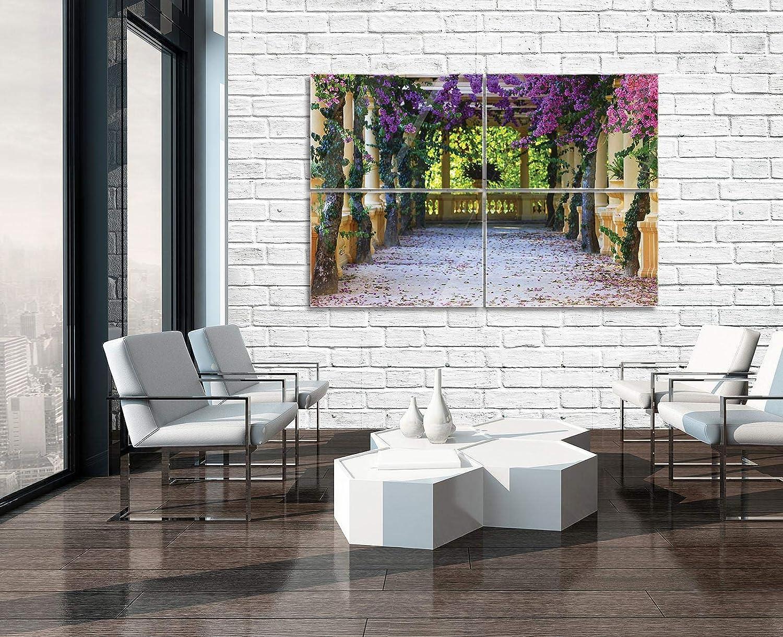 Glasbild Consalnet ForWall AMF10877_GTS10 - Cuadro de Cristal para Pared, diseño de terraza con Flores, Vidrio, carbón, GS10 (120cm. x 80 (4x60x40)): Amazon.es: Juguetes y juegos