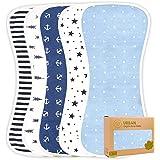 Organic Burp Cloths for Baby Boys and Girls - 5-Pack Ultra Absorbent Burping Cloth, Burp Clothes, Newborn Towel - Milk Spit U
